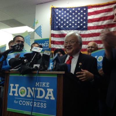 Congressman Mike Honda declares victory in the 17th District, with a 5 percent lead but thousands of votes yet to be counted. (Rachael Myrow/KQED)