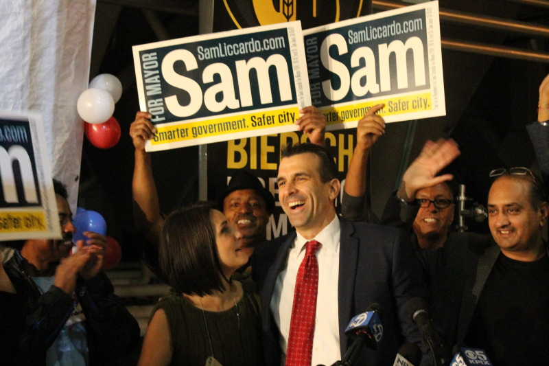 Sam Liccardo leading the race for mayor says goodnight to supporters at his Gordon Biersch Brewery election night headquarters.