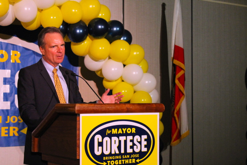 Dave Cortese says good night to his supporters at the Marriott in San Jose after a long night of waiting for election results.