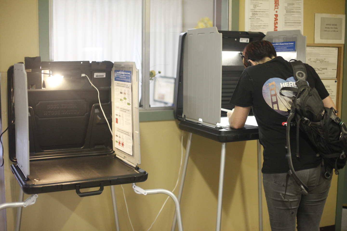 Lauren Taylor, 28, votes at her polling place on 36 Hoff St. in San Francisco's Mission District. (Katie Brigham/KQED)