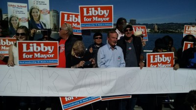 Libby Schaff supporters cheer her on as she arrived at Lake Merrit to make her victory speech.(Andrew Stelzer/KQED)