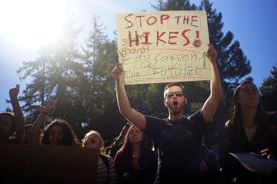 Protesters at UC Berkeley on Monday called for a repeal of tuition increases approved last week. (James Tensuan/KQED)