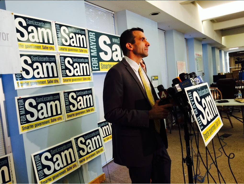 Sam Liccardo declares victory at a press conference. (Beth Willon/KQED)