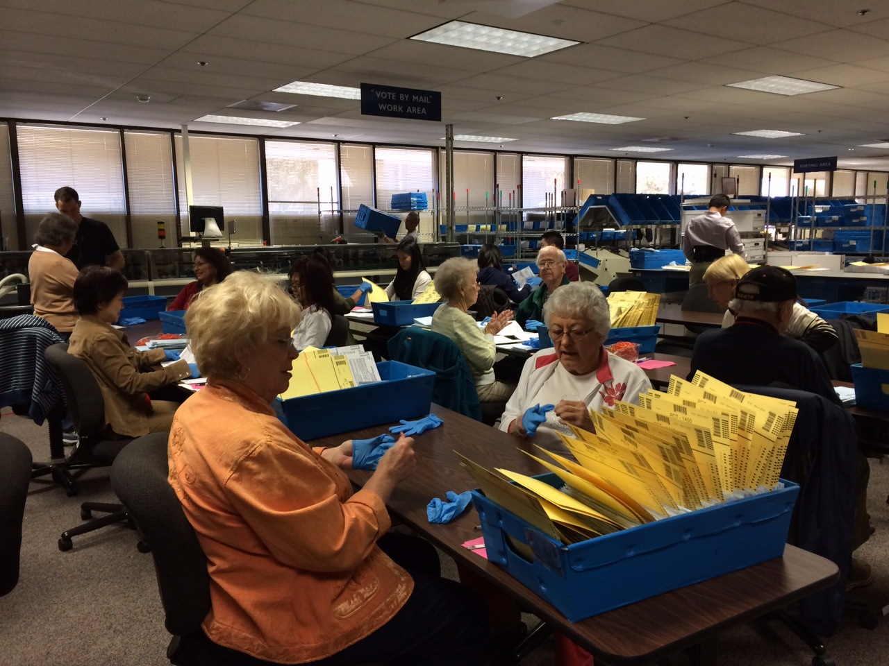 It takes weeks to sort through the vote by mail ballots before election day. (Beth Willon/KQED)