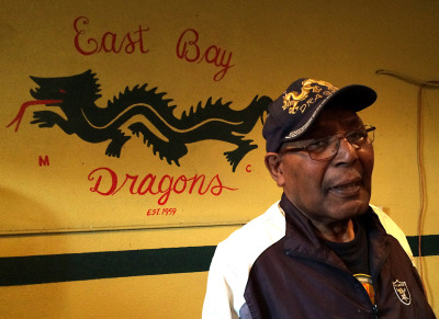 East Bay Dragons President Tobie Gene Levingston at the group's clubhouse in East Oakland. (Aaron Mendelson/KQED)