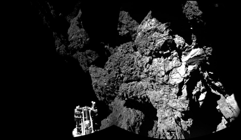One of Philae's feet can be seen in this photo from the lander's final landing location. (ESA/Rosetta/Philae/CIVA)