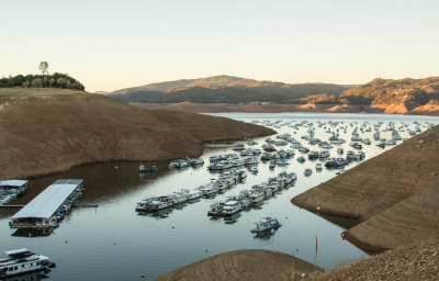 Lake Oroville, the state's second-biggest reservoir, in mid-October. The Yes on Prop. 1 campaign has focused on unease over California's continuing drought. (Dan Brekke/KQED)