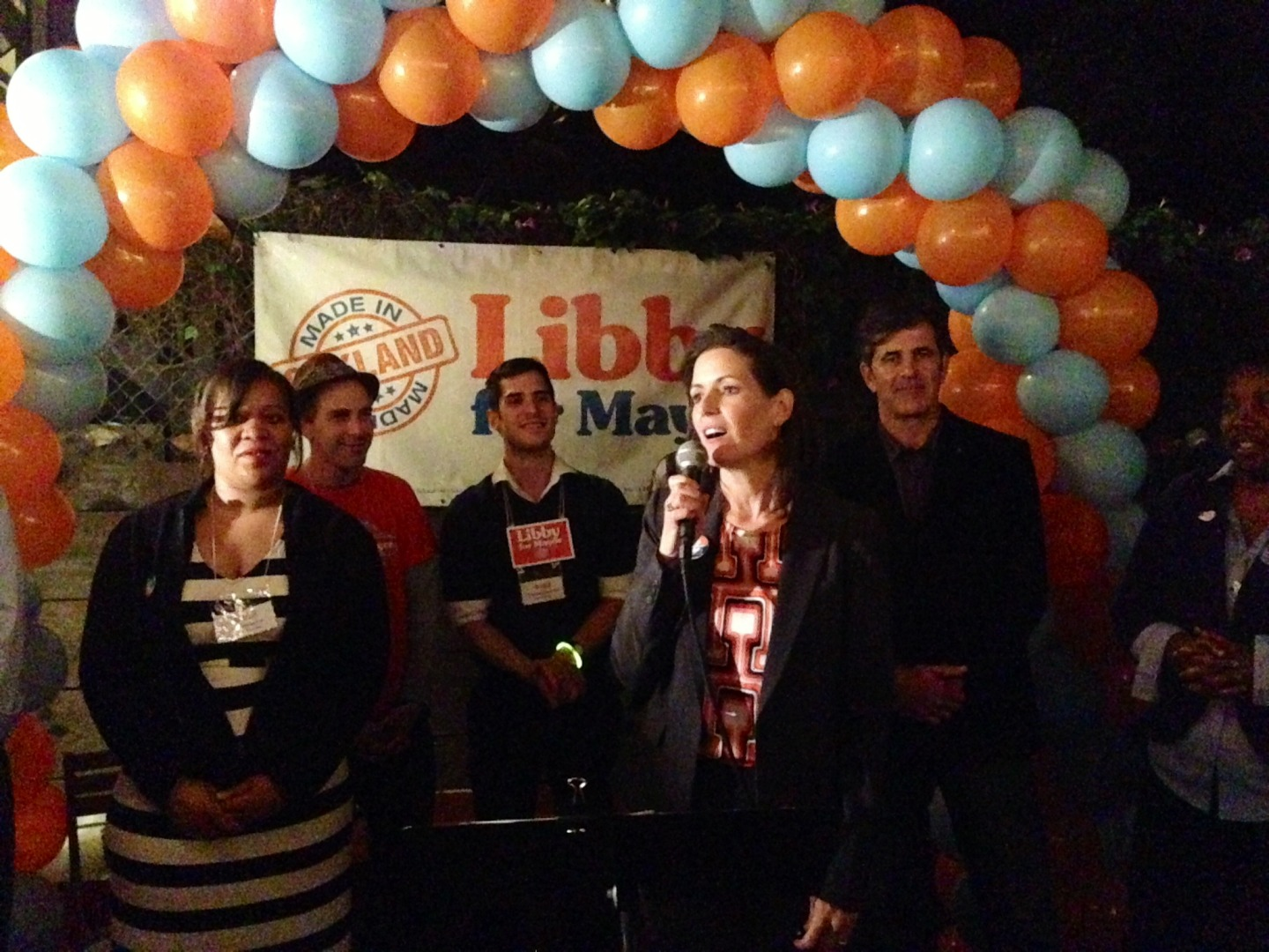 Libby Schaaf thanked supporters as she maintains her lead in a field of 15.  (Cy Musiker/KQED)