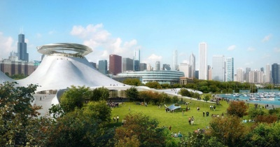 Artist's rendering of proposed George Lucas museum on Chicago's lakefront. (Lucas Museum of Narrative Art)