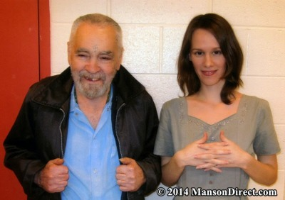 Charles Manson and Afton Elaine Burton (aka Star), pictured in February 2014. Prison official confirmed the pair obtained a marriage license earlier this month. (MansonDirect.com)