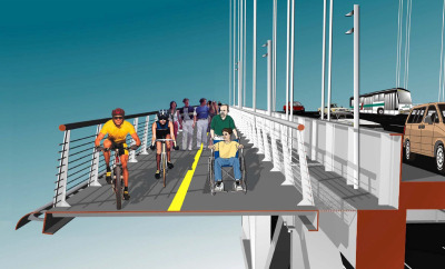 A rendering of a biking and walking path that would be built on the side of the Bay Bridge's western span (Photo: MTC via Streetsblog SF).