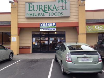 Yes on P posters hang outside stores and homes throughout Humboldt County.  (April Dembosky/KQED)