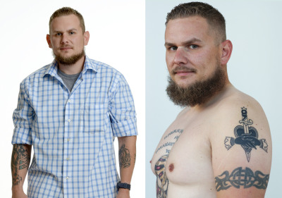 Iraq War veteran Zak Bass shows off his tattoos, including one of the War Ink logo. (Left: Courtesy War Ink, Right: James Tensuan/KQED)