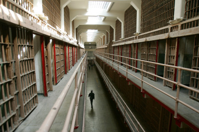 A cell block at Alcatraz, the former island prison in San Francisco Bay. (Robyn Beck/AFP-Getty Images)