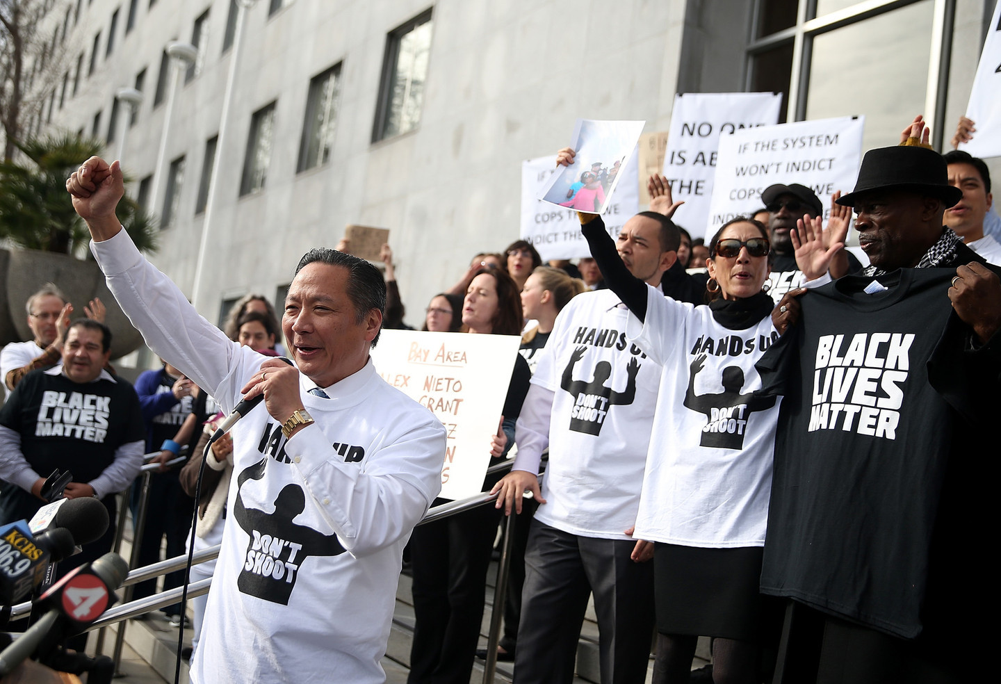 San Francisco Public Defender Jeff Adachi speaks in front of the city's Hall of Justice during a demonstration on Dec. 18. Public defenders in Alameda, Contra Costa, Santa Clara and Solano counties staged similar actions today at their county courthouses.