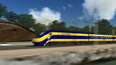 An artist's rendering of a California high-speed rail train.