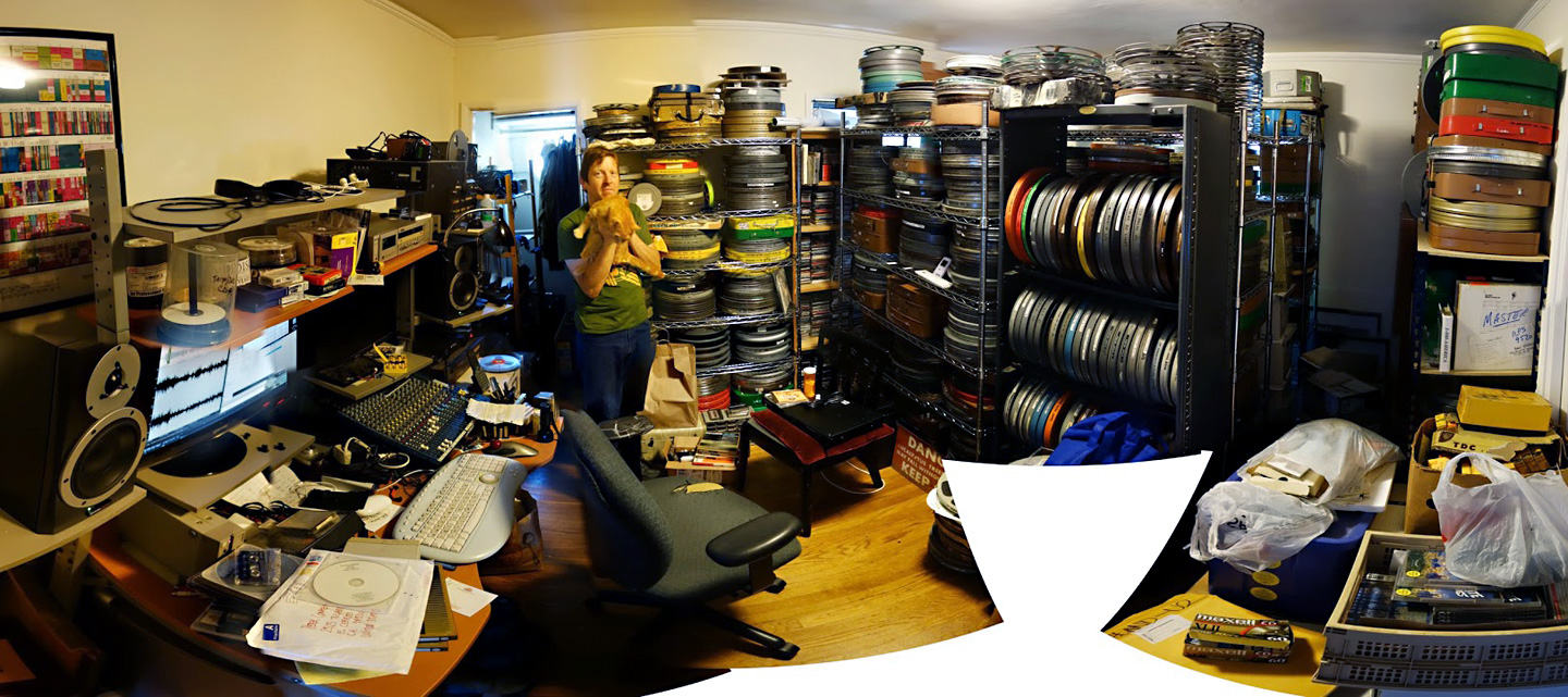 Peter Conheim amid his film print collection.  Taylor Jessen/KQED