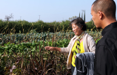 May Vu explains to Hmong farming advocate Jon Thao that she cannot apply for an emergency loan from the USDA Farm Service Agency because she does not own her land. (Erica Mu/KQED)