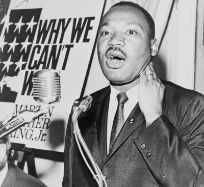 Martin Luther King Jr. at a 1964 press conference.