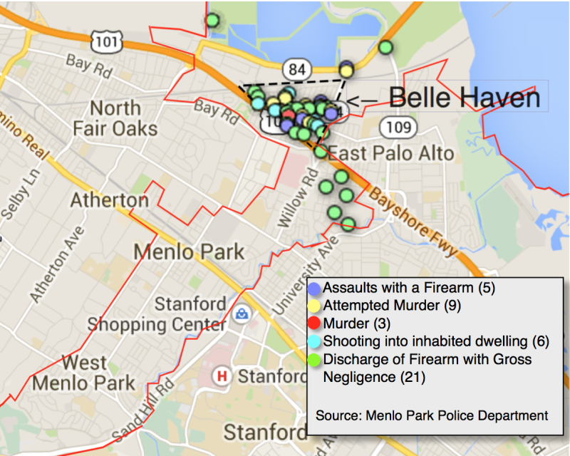 Since 2011, all of Menlo Park's shooting incidents were in Belle Haven or within a mile radius. For an interactive map with more information about each incident, click here.  (Farida Jhabvala Romero/Peninsula Press)