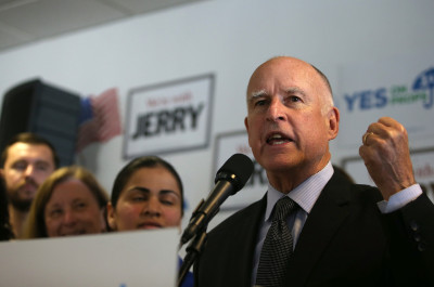 Gov. Jerry Brown speaks during a get-out-the-vote rally at the Alameda County Democratic Party headquarters on October 27, 2014 . (Justin Sullivan/Getty Images)