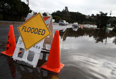 A flooded roadway in Tiburon on Wednesday morning. (Justin Sullivan/Getty Images)
