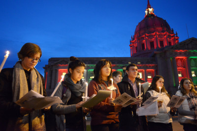 A Thursday evening gathering in San Francisco's Civic Center Plaza to remember the dozens of homeless people who died in the city in 2014.  (James Tensuan/KQED)