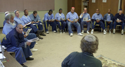 The Jewish congregation at San Quentin State Prison has around 80 to 90 members, according to Jewish Chaplain Carole Hyman. (Adam Grossberg/KQED)
