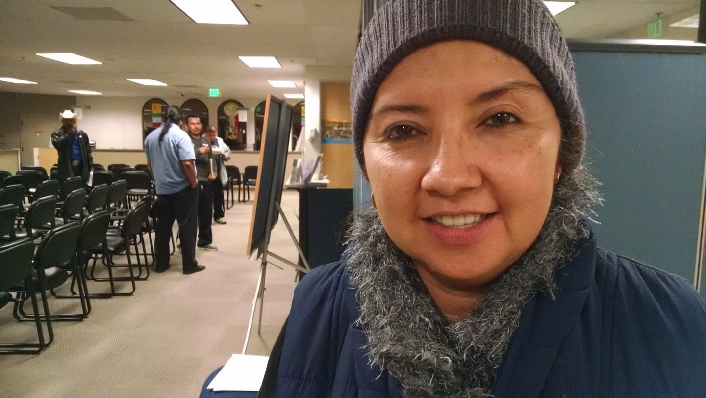 A resident of East San Jose named Monica attends a driver training test prep session at the Mexican Consulate in San Jose, Dec. 15, 2014. Monica hopes to get her driver license once undocumented immigrants living in California are allowed to apply starting on Jan. 2. (Vinnee Tong/KQED)
