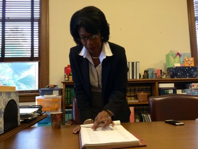 Judge Rise Jones Pichon looks over court documents before becoming Santa Clara County's first minority presiding Superior Court judge.