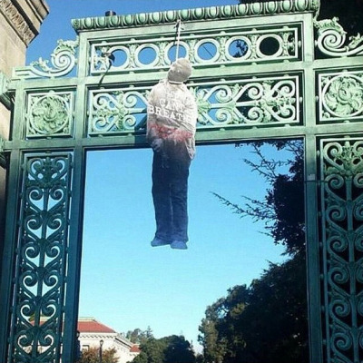 This effigy was one of three authorities say was hung at the UC Berkeley campus Saturday morning.
