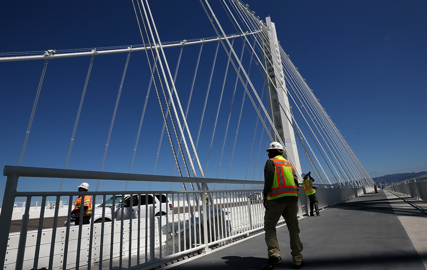 Construction Continues On Bay Bridge Ahead Of Opening Of Eastern Span