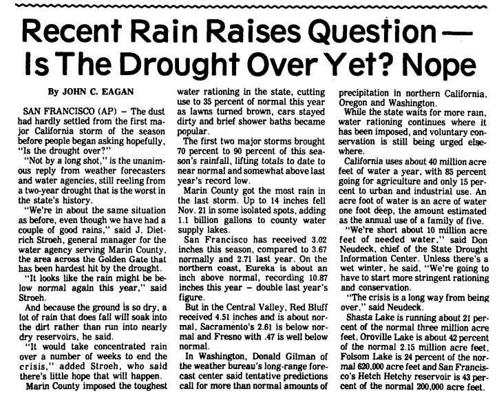 A story on the 1976-77 drought in the Orange County Register, December 1976