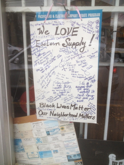 After protesters broke windows at True Value Eastern Supply at 2900 Shattuck Ave., neighbors made this sign in support of the hardware store. (Natalie Orenstein/Berkeleyside)