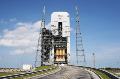 The Orion capsule is poised to make its first test flight Thursday. If all goes as planned, the unmanned vehicle will orbit Earth twice before splashing into the Pacific Ocean. (NASA)