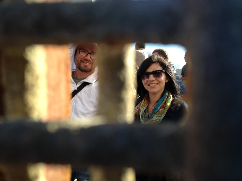 Several hundred people celebrated the Posada on the Tijuana side including this couple from New Zealand. (Courtesy Leslie Berestein Rojas)