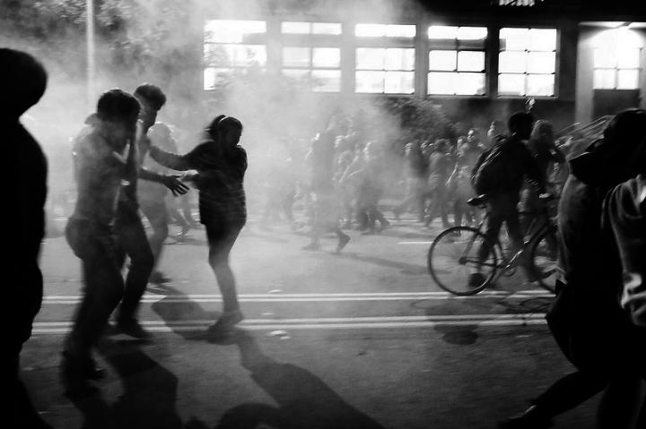 Berkeley police used tear gas to break up protests on Dec. 6. (Pete Rosos/Berkeleyside)