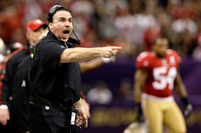 Jim Tomsula, named Wednesday to be the next head coach of the San Francisco 49ers, during the team's appearance in Super Bowl XLVII.
