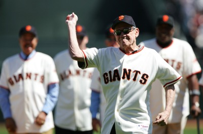 Retired San Francisco Giants' All-Star pitcher Stu Miller threw out the first pitch at the team's home opener in 2007. Wind was not a factor. (Jed Jacobsohn/Getty Images)