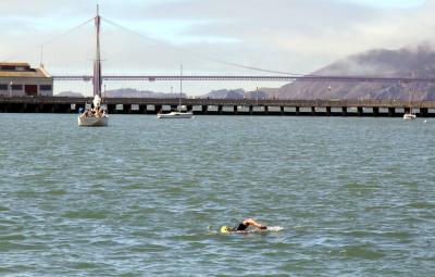 Paul DeAngelis on a recent swim around Aquatic Cove in San Francisco.