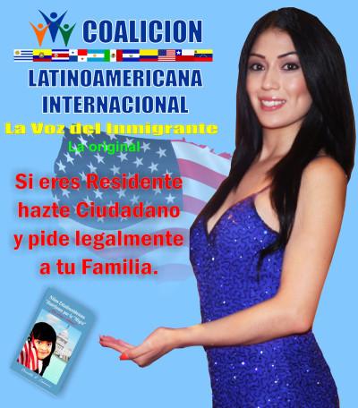 Un anuncio de la Coalición Latinoamericana Internacional, una organización sin fines de lucro de consultoría legal que también alega ser defensora de los derechos del inmigrante. La Coalición se encuentra enfrentada con varias demandas y quejas de consumidor de parte de varios clientes.