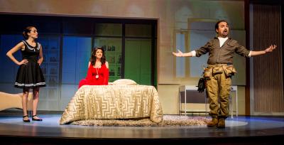 "Maria Elena Altana as Susana, Greta Baldwin as Roxanne Conti and Jose Adan Perez as Figaro in LA Opera's ""Figaro 90210."""