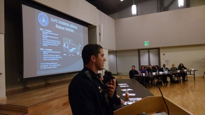 San Leandro PD Lt. Randy Brandt addressing the special city council meeting