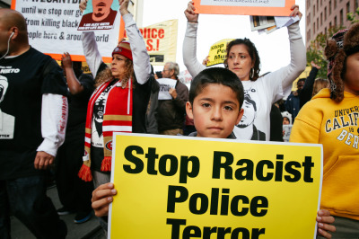 Protesters take to the streets of San Francisco on Dec. 14, 2014. (Jeremy Raff/KQED)