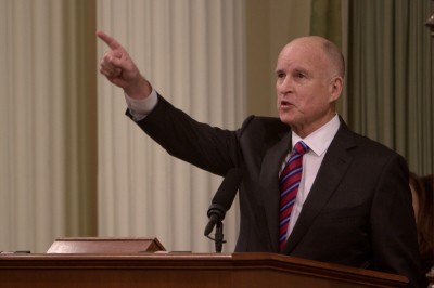 Gov. Jerry Brown delivers his joint inaugural/State of the State address on Jan. 5. (Andrew Nixon/Capital Public Radio)