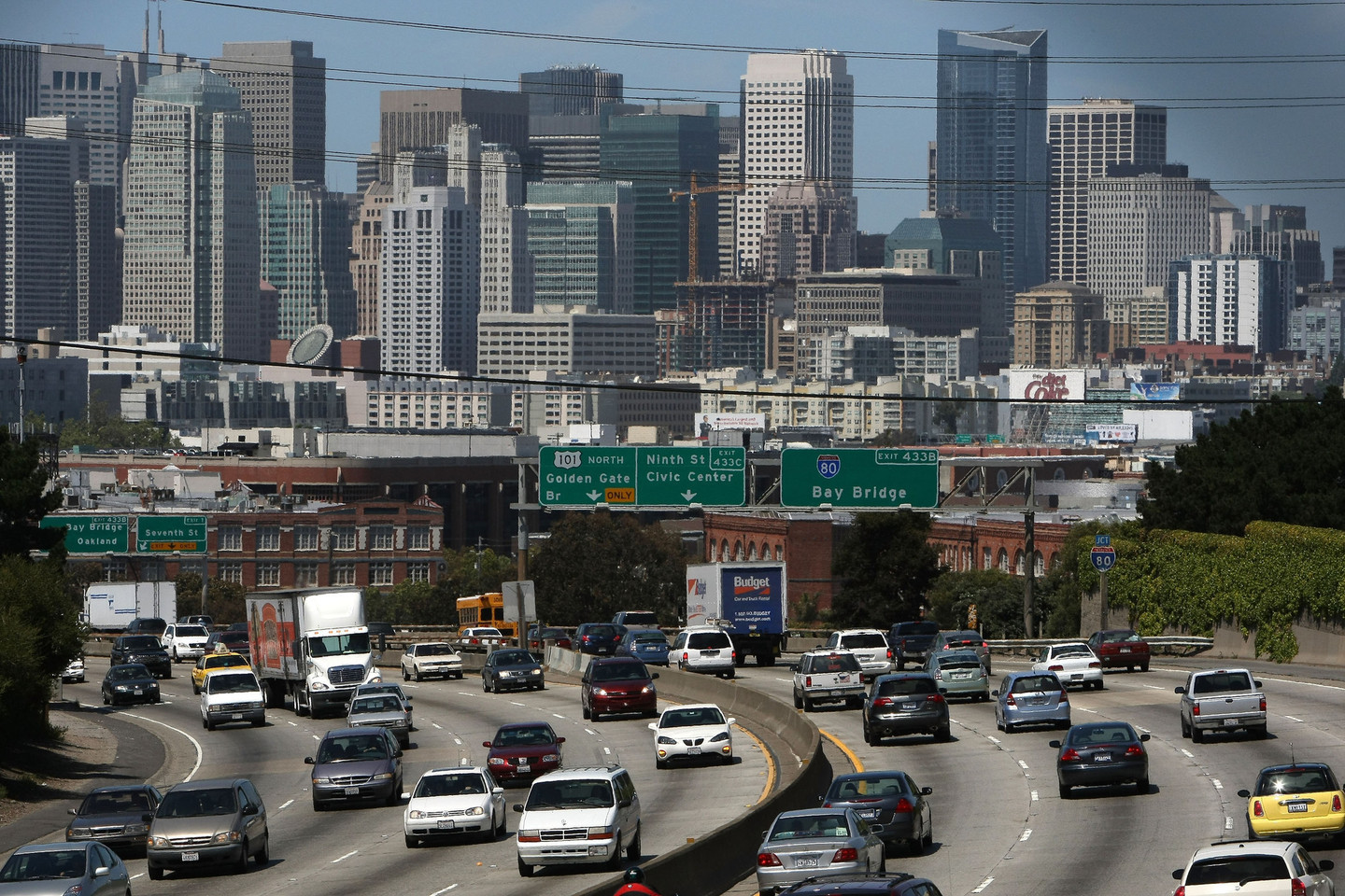 Cars drive along Highway 101 in San Francisco.