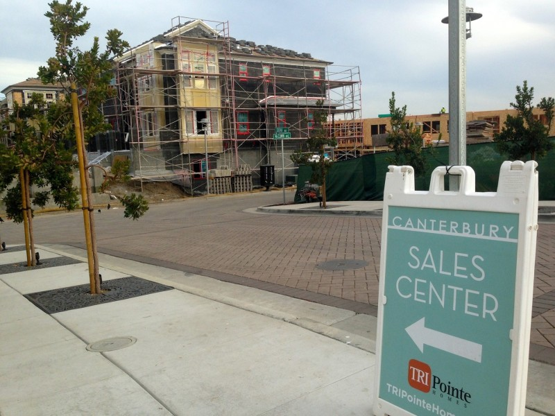 Bay Meadows, still under construction, is the biggest new development in San Mateo: 1,100 new housing units, along with commercial space, parks, and a high school, on land that used to house a racetrack.