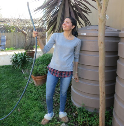 Nini Argeris of Burlingame uses rain barrels to capture rainwater for use in the family garden.