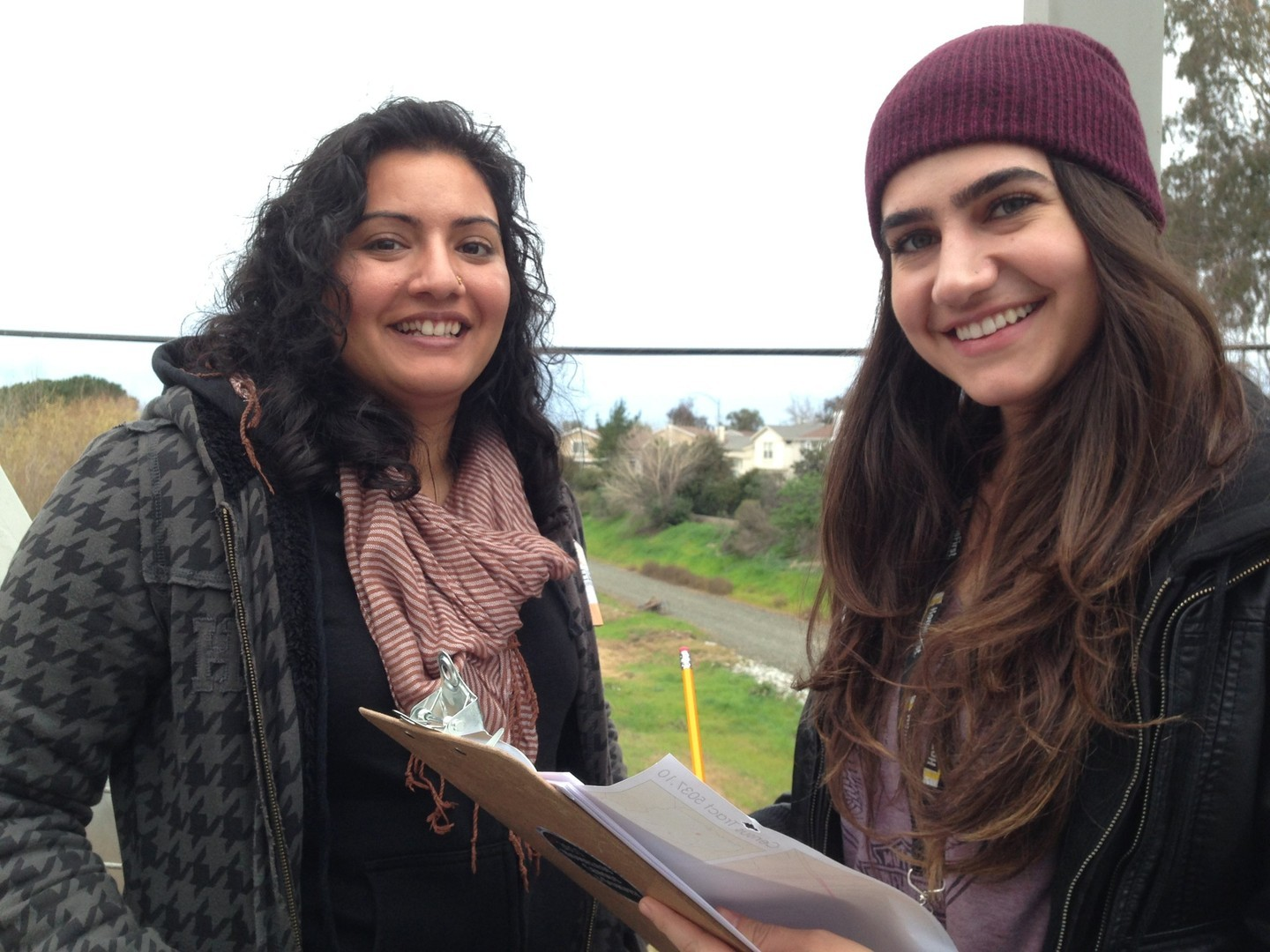 Social workers Jen Sandhu and Pauline Bayati of HomeFirst, a nonprofit that helps homeless people in Santa Clara County. They volunteered to help count the homeless in San Jose.