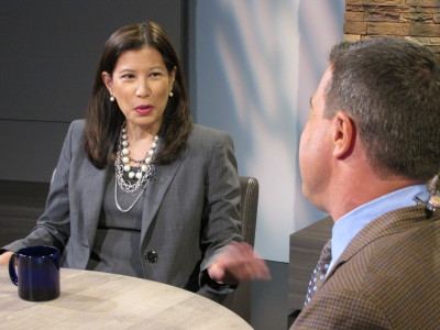 California Supreme Court Chief Justice Tani Cantil-Sakauye speaks with KQED NEWSROOM Senior Correspondent Scott Shafer in KQED studios on Oct. 16, 2013.